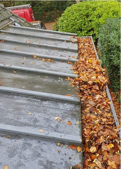 Bladeren uit goot verwijderen, omgeving Hoevelaken / Amersfoort